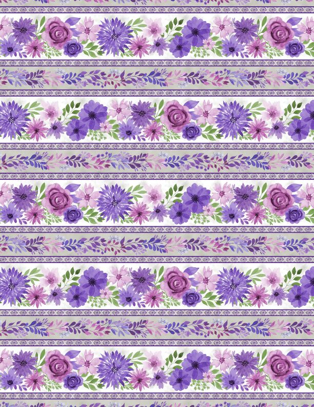 "Multi Amethyst Magic Repeating Border Stripe 44"" fabric by Wilmington, 27578-169"