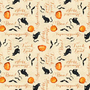 "Black cats and pumpkins 44"" fabric, Wilmington, 27590-298, Haunted Night"
