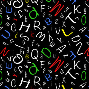 "ABC letters black background 44"" fabric by Quilting Treasures, 28210-J Alphabet Soup"