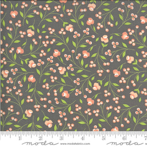 "Gray Floral 44"" fabric by Moda, 29103 19, Apricot Ash"
