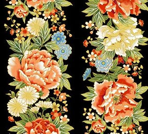"Flower border stripe fabric on black background 44"" fabric, Northcott, metallic, 23271M-99, Kyoto Garden"