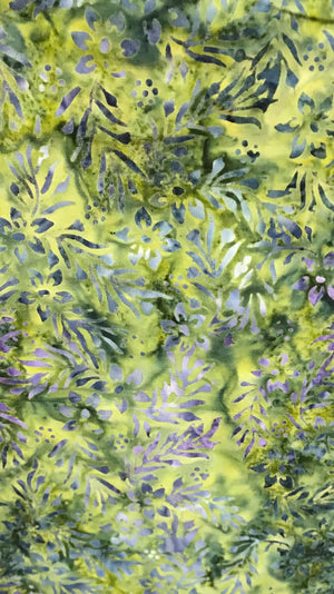 "Green / Purple Leaves 44"" batik, Majestic Batik, Seafoam 2TB-303"