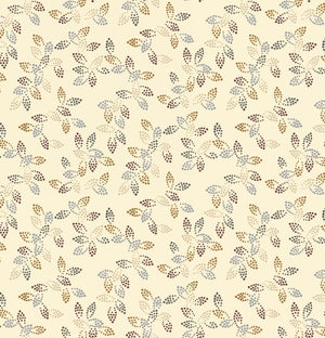 "Cream with leaves 108"" fabric by Studio-E, 3292-44, Spangle"