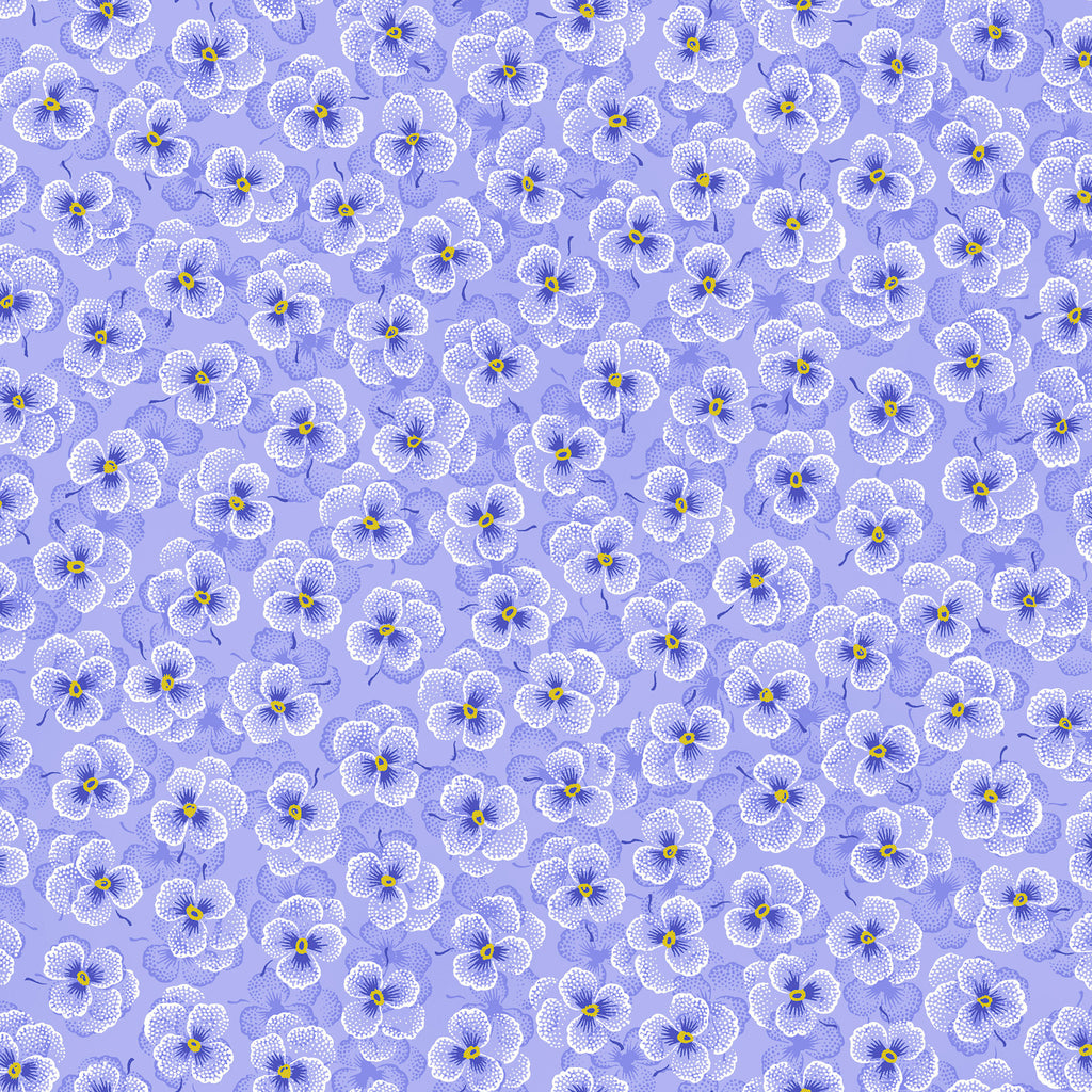 "Purple - Blue pansy flowers 44"" fabric by RJR, Bloomfield Avenue,  3570-002"