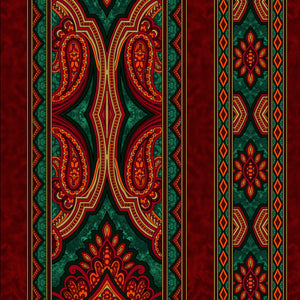 "Red / Green Border Stripe, 44"" fabric, RJR,  3578-005, Aruba Holiday"