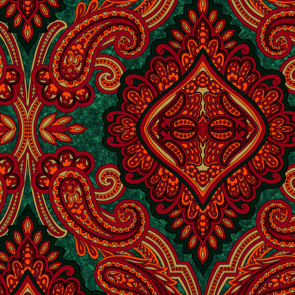 "Red and Green Paisley, RJR, 44"" fabric 3579-005, Aruba Holiday"