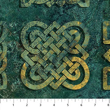 "Teal Celtic Knots 44"" fabric, Northcott  39428-69 Stonehenge Solstice 10th Anniversary"