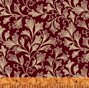 "Burgundy with white leaves and vines 108"" fabric,  Windham, 39508-1"