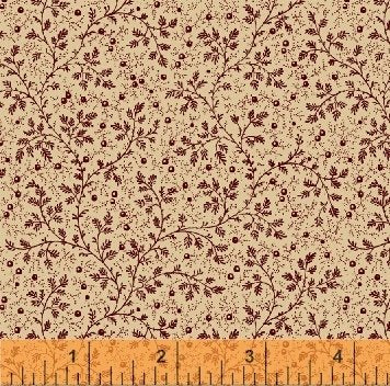 "Burgundy mini leaf on Beige 108"" fabric, Windham, 39510-1"