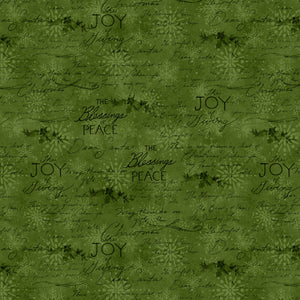"Green Script Words 44"" fabric, Wilmington Prints, 39609-777, The Joy of Giving"