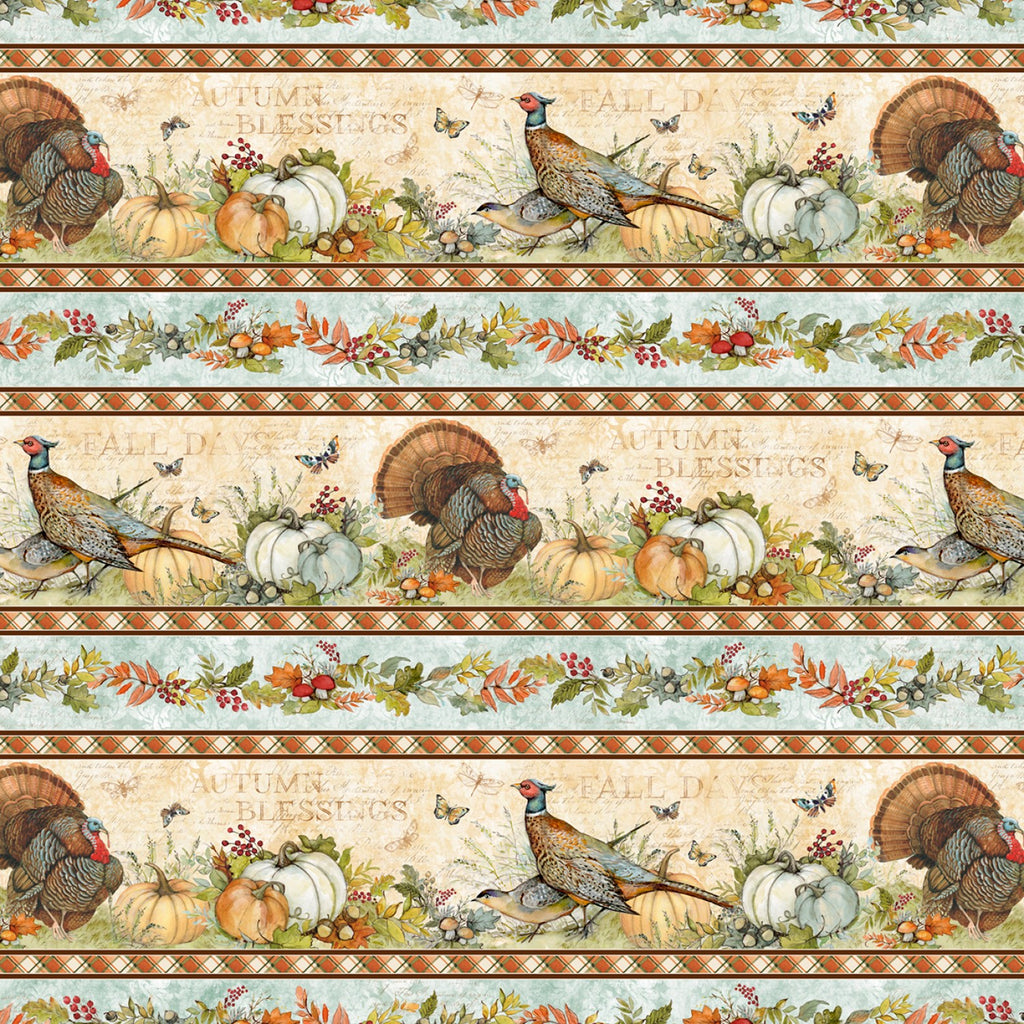 "Turkey repeating stripe 44"" fabric, Wilmington, 39654-248, Seeds of Gratitude"
