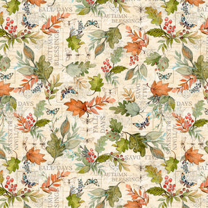 "Tan leaves allover 44"" fabric, Wilmington, 39656-287, Seeds of Gratitude"
