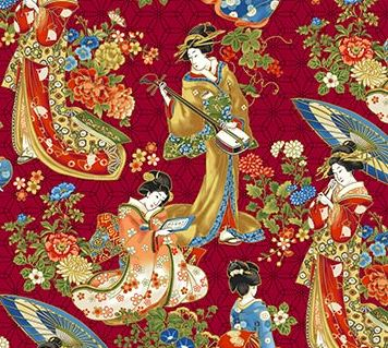 "Asian Women on red background 44"" fabric by Northcott, metallic,  23272M-24, Kyoto Garden"