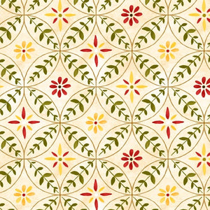 "Scarlet Dance - Flowers Rings Tan - 44"" fabric by Wilmington, 42432-237"