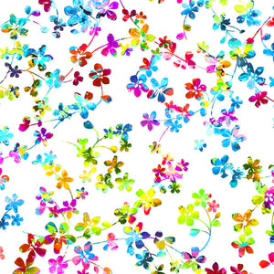 "Multi-Color Flowers, Watercolor Meadow 108"" fabric, Studio-E, 4280-87"