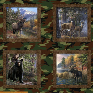 "Four pane panel of large forest animals, 36"" x 42"", Windham, 43304D-X The Great Outdoors"