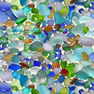 "Multi colored rocks - sea glass 44"" fabric by Elizabeth's Studio,  456-multi"