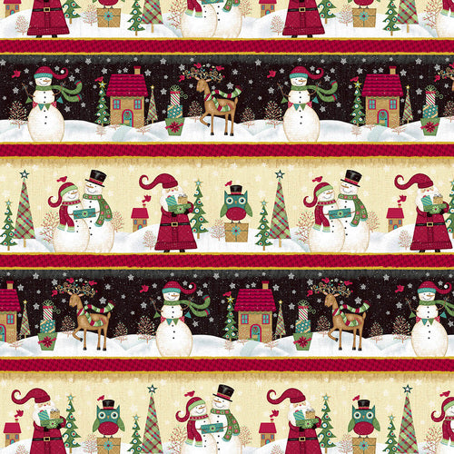 "Snowman and Santa Scenic Stripe 44"" fabric, 4751-98, Holly Jolly"