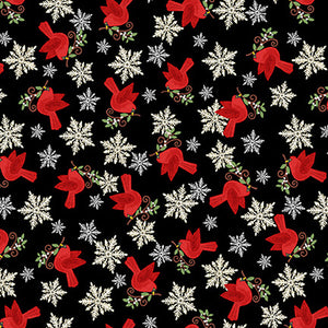"Tossed Cardinal Birds 44"" fabric, Studio-E, 4753-98, Holly Jolly"