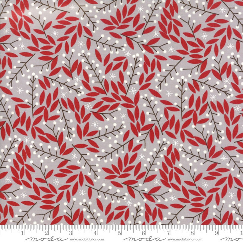 "Merriment Chill Holly 44"" fabric by Moda, Gingeber,  48273 14"