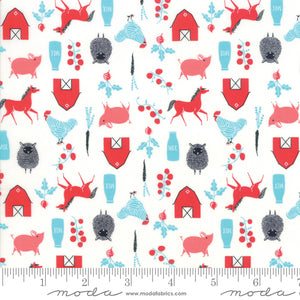 "Red, Black & Teal Farm animals 44"" fabric by Moda, 48294 11,  Farm Charm Multi"