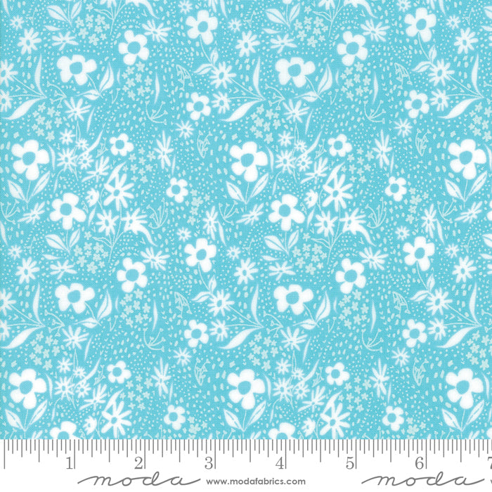 "Teal with white flowers 44"" fabric by Moda, 48295 15, Farm Charm Pond"