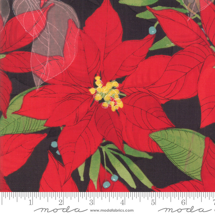 "Charcoal Splendid Poinsettias 44"" fabric by Moda, Robin Pickens, 48650 18"