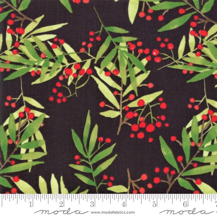 "Splendid Charcoal leaf and berries 44"" fabric by Moda, Robin Pickens, 48652 18"