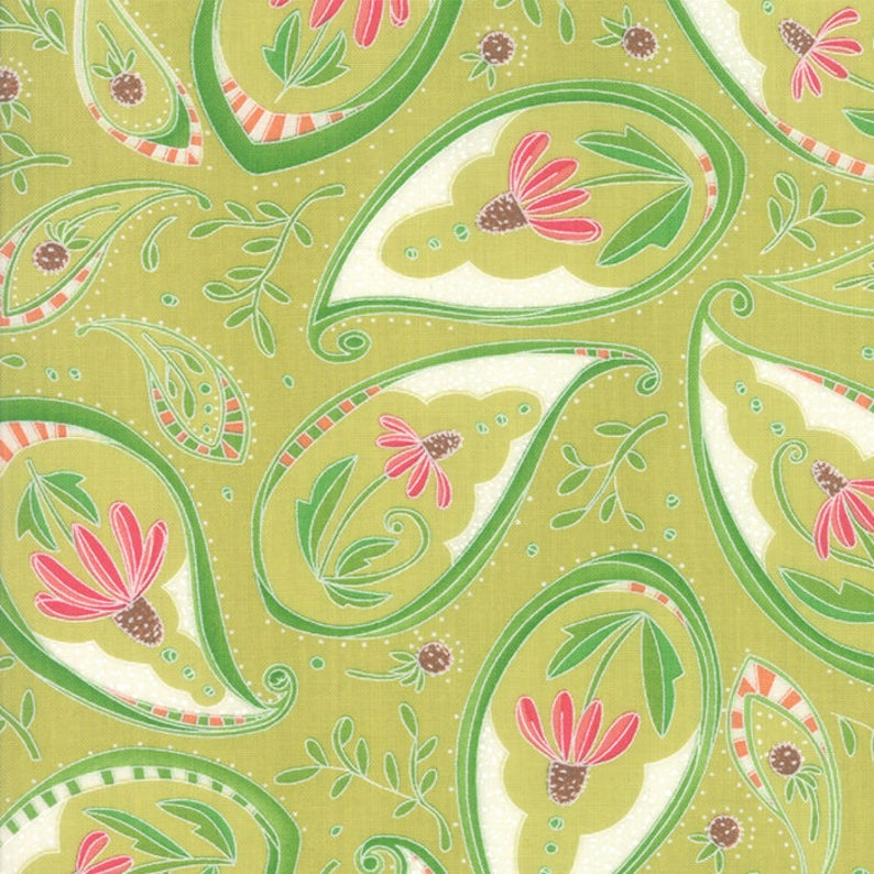 Painted Meadow Coneflower Paisley Light Sprig Green by Robin Pickens for Moda Fabrics, 48661 13