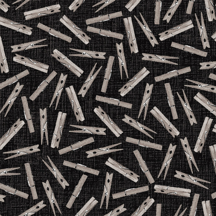 "Black Clothes pins, Loads of fun 44"" quilt fabric, Studio-E, 4885-99"