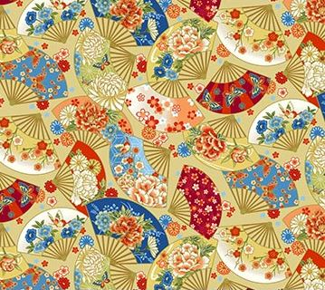 "Asian Fans with metallic 44"" fabric by Northcott,  Kyoto Garden, 23273M-12"