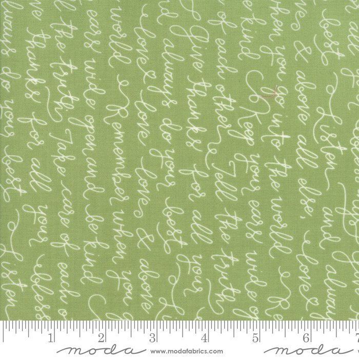 "Green Farmer's Daughter words 44"" fabric by Moda, 5052 15"