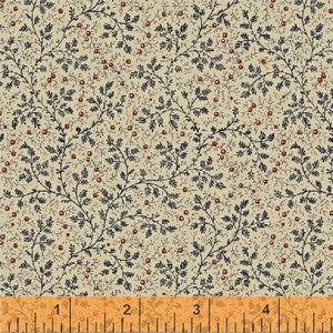 "Navy Blue Vine Cream Background 108"" fabric, Windham, 50665-2"