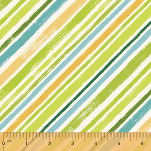 "Green Diagonal Stripe 44"" fabric, Windham, 50826-4, Catnip"
