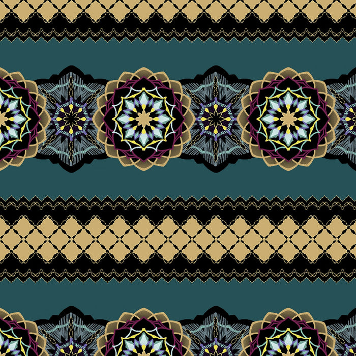 "Teal Toss Medallion 44"" quilt fabric, Windham, Grand Illusion,  51221M-3"