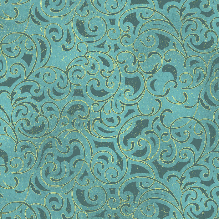 "Teal metallic Scroll, 44"" quilt fabric, Windham, Grand Illusion,  51222M-3"