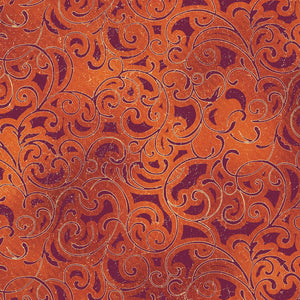 "Crimson Scroll with Metallic, 44"" quilt fabric, Windham, Grand Illusion,  51222M-4 Crimson"