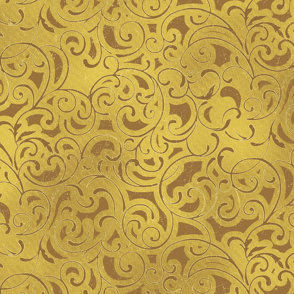 "Gold Scroll with Metallic, 44"" quilt fabric, Windham, Grand Illusion,  51222M-6"
