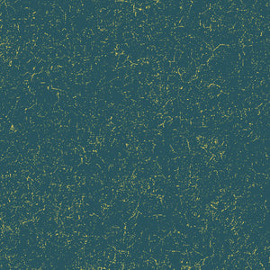 "Splatter Teal with gold metallic, 44"" quilt fabric, Windham, Grand Illusion,  51224M-3"