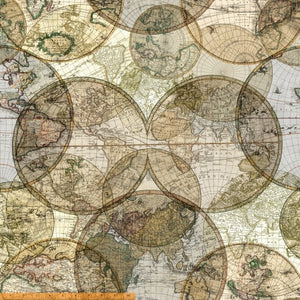 "Maps and Globes 108"" fabric by Windham, 51386D-X, Seven Seas"