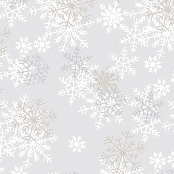 "Light Grey Snowflakes 108"" fabric by Windham, 51461-1"