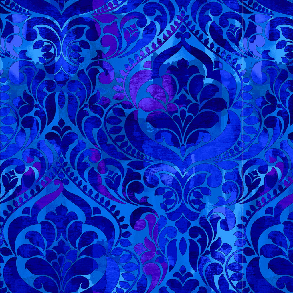 "Royal Blue Damask 108"" fabric by Studio-E, 5236-77, Fiorenza"