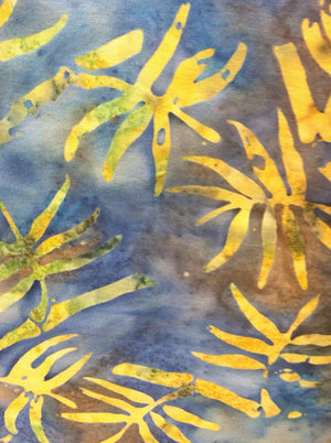 "Anthology 106"" Batik WB5241 Blue - yellow/gold leaves"