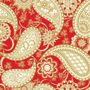 "Red with Gold Paisley 108"" fabric by Contempo,  5490W-10"