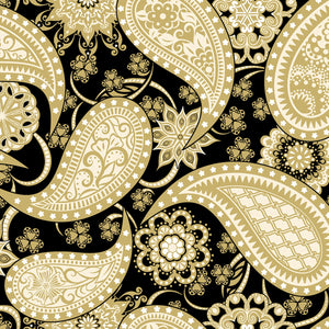"Contempo 108"" fabric 5490W-11 Black / Gold Paisley"