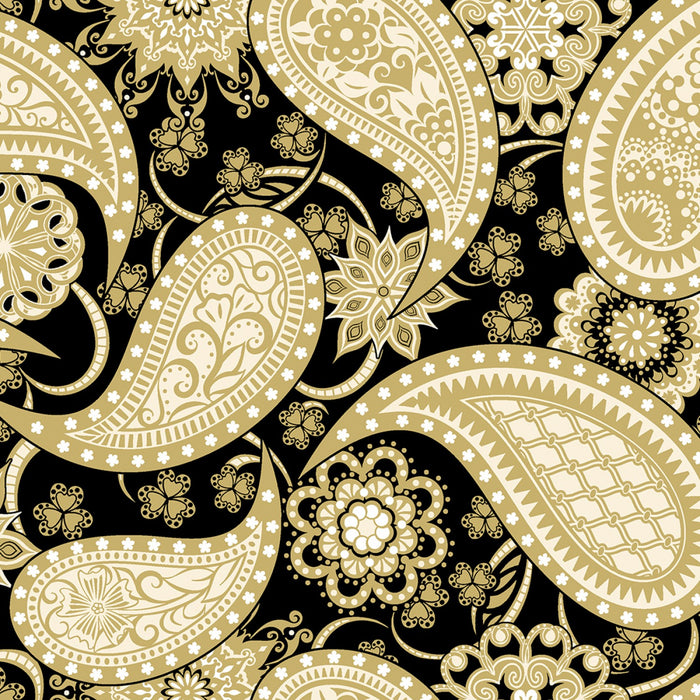 "Black with Gold Paisley 108"" fabric by Contempo,  5490W-11"