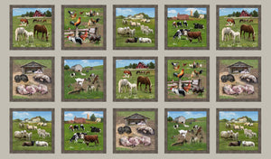 Sepia Farm Animals Panel by Elizabeths Studio 557-Sepia