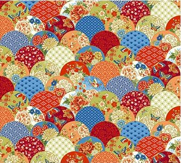 "Red, gold and blue oriental 44"" fabric, metallic, Northcott, 23274M-24, Kyoto Garden"