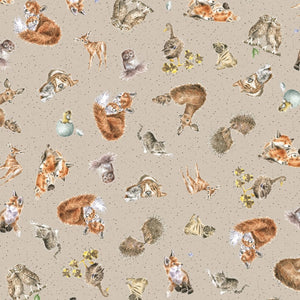 "Tan Loving animals 44"" fabric by Maywood Studio, Love is ... MASD6209-T"
