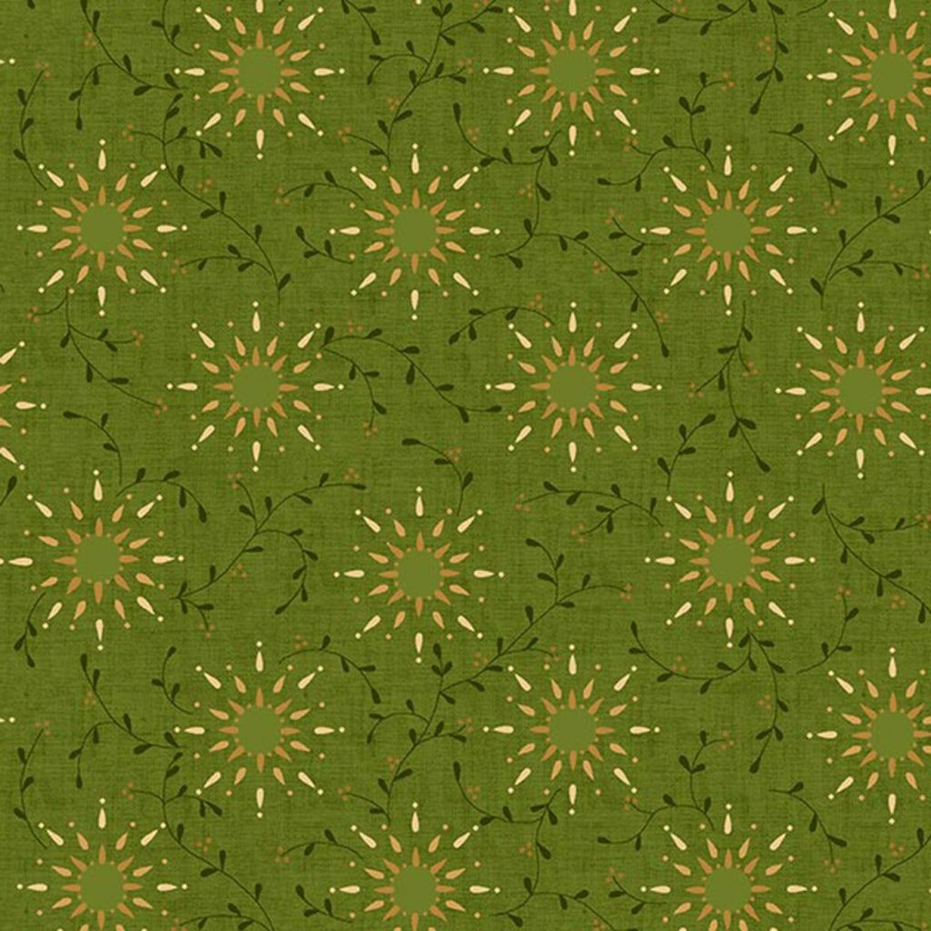 "Green Prairie Vine 108"" fabric by Henry Glass, 6235-66"